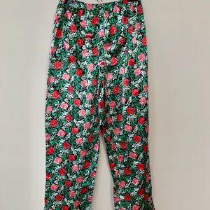 Mary Engelbreit rose print satin lounge pants NEW